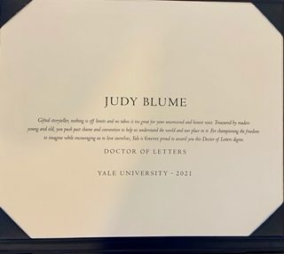 Yale University conferred a Doctor of Letters honorary degree to Judy on May 23, 2021.